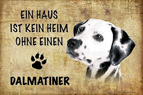 Kein Haus Ohne Dalmatiner Hund Dog Letrero de Metal Placa de Metal Signo de Arqueado Metal Tin Sign 20 X 30CM