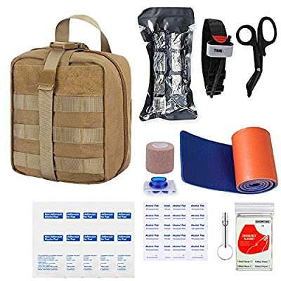 GRULLIN Survival First Aid Kit, 39 Pieces Tactical Molle EMT IFAK Pouch Emergency First Aid Survival Kits Trauma Bag Outdoor Gear for Camping Hiking Hunting Travel Car Adventures (Tan)