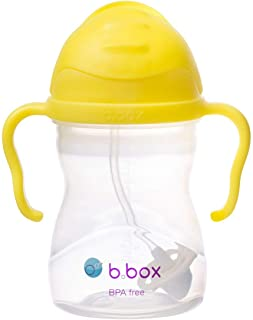 b.box Sippy Cup with Innovative Weighted Straw, Lemon (Matte Lid)