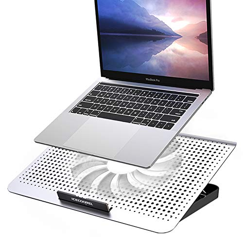 ICE COOREL Laptop Cooling Pad, Aluminum Laptop Cooler Stand with 7 Height Adjustable and One Big Quiet Fan, Cooling Fan for Laptop 15.6 14 13 Inch,...