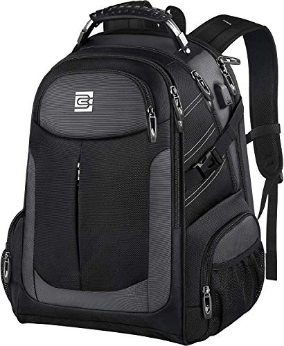 Large Laptop Backpack, Travel Business Rucksack with USB Charging Port for Trip, Water Resistant TSA Friendly Bag for Men Women, Durable College School Bag Fits 15.6 17 Inch Computer (Black, 15.6')