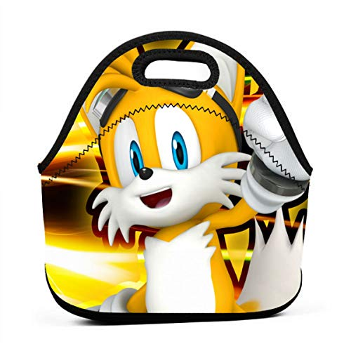 Cartoon Character Sonic Team Tail Insulated Lunch Bag Tote For AdultKids - Reusable Soft Neoprene Personalized Lunchbox Handbag For WorkSchoolPicnic