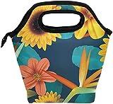 Bolsa de almuerzo, girasol amarillo, flores de coral, hojas azules, lonchera con aislamiento, bolso portátil térmico, contenedor de alimentos, enfriador, reutilizable