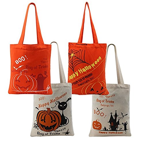 Halloween Theme Tote Bag, Trick or Treat Thick Basket, Bucket for Kids Party, Daily Use, Carry Candy and Gifts (4 pack)