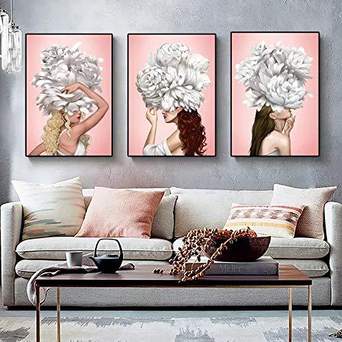 XLXZZ Elegante Mujer Sexy y Flores Blancas Pintura Carteles Sexy Impresiones Lienzo Arte de la Pared Imagen decoración del hogar-50x70cmx3 Piezas sin Marco