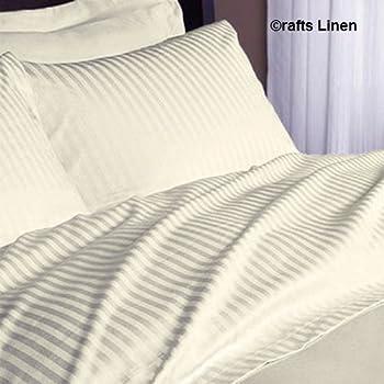 Crafts lino algodón egipcio 500-thread-count satén One sábana bajera ajustable y dos funda de almohada Euro lkea King (+ 18 cm) bolsillo profundidad, marfil diseño de rayas: Amazon.es: Hogar