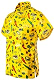 Funny Guy Mugs Mens Cinco de Mayo Hawaiian Print Button Down Short Sleeve Shirt, Medium