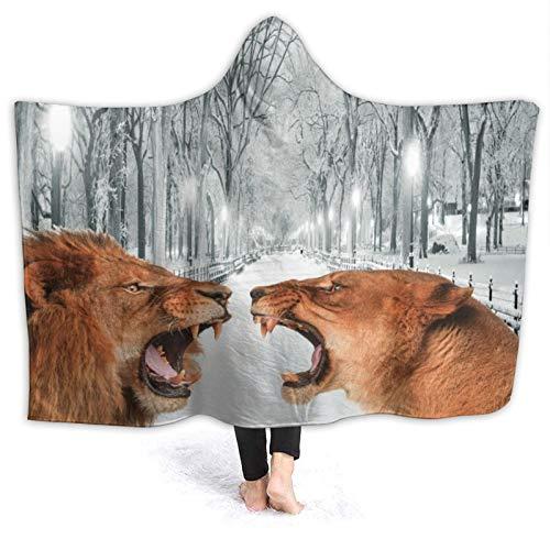 Moshow Kapuzendecke Weiche und warme Flanell-Massai-Löwen-Decke für Couchsofa 60x50 Zoll