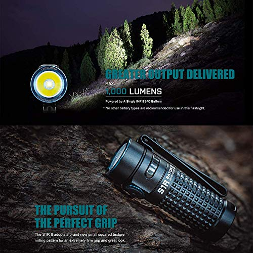 Olight S1R II Baton Small Flashlight 1000 lumens / 138 Meters CW LED Compact Torch Light Rechargeable Side-Switch EDC Flashlight, with Rechargeable Battery+BanTac Battery Case