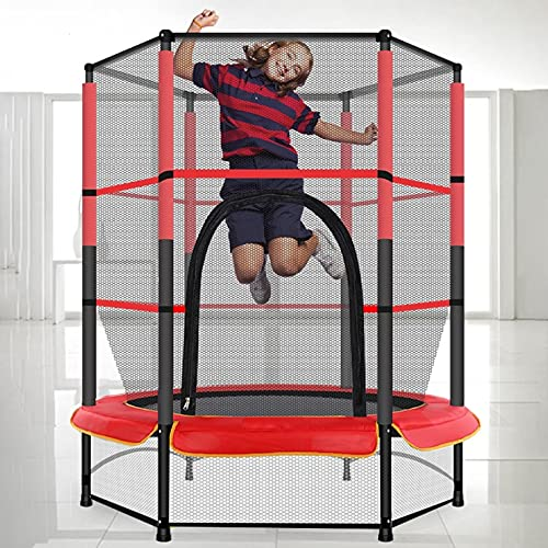 """55"""" Trampoline for Kids, 5ft Trampoline with Safety Enclosure Net, Spring Pad, Ladder, for Toddlers Age 2-5 , Indoor & Outdoor Rebounder Mini Trampoline"""