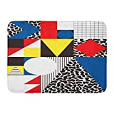 N\A Felpudos Alfombras de baño Alfombra de Puerta para Exterior/Interior Colorido Bauhaus Geométrico Abstracto en Retro Patrón Moderno Cubismo 80S Alfombra de decoración de baño