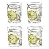 Glasseam Bicchieri da Acqua Bere 300Ml Bicchieri Vintage in Vetro Set di 4 Bicchieri Alti per Succo di caffè, tè per Feste, Bar