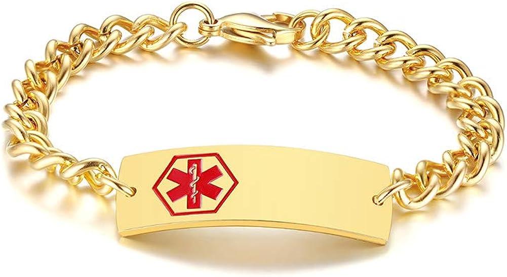 Max 72% OFF Custom Free Engraving Stainless Steel Cr Luxury goods Alert Men's Red Medical