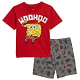 Nickelodeon Spongebob Squarepants Toddler Boys T-Shirt Shorts Set 4T Red/Gray