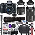 Canon EOS M50 Mirrorless Digital Camera with 15-45mm Lens Bundle + Canon EF-M 55-200mm f/4.5-6.3 is STM Lens & 500mm Preset Lens + 32GB Memory + Filters + Monopod + Professional Bundle by Paging Zone