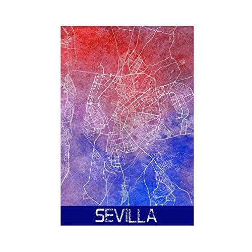 Póster de lienzo de Sevilla con mapa de la ciudad de España para decoración de dormitorio, paisaje, oficina, decoración de habitación, regalo de 2 x 18 pulgadas (30 x 45 cm)