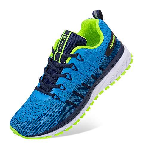 Straßenlaufschuhe Herren Damen Laufschuhe Fitness Turnschuhe Sneakers Air Sportschuhe Running Shoes(03-Blauer See,44EU)