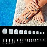 Juego de 1000 uñas postizas para uñas de los pies, cobertura completa, uñas postizas para decoración de uñas y manicura, color natural + transparente, 10 tamaños