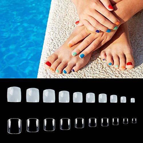 Noverlife Juego de 1000 puntas de uñas postizas para uñas de pie postizas para bricolaje y diseño de uñas y salones de manicura, color natural + transparente, 10 tamaños