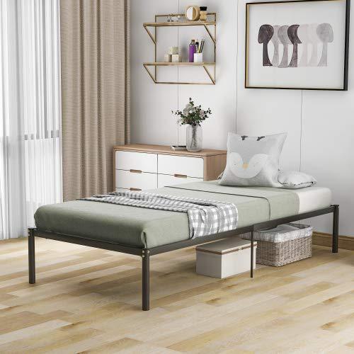 Bettrahmen mit Lattenrost Gästebett Metallbett Bettrahmen Plattform Basis Jugendbett Doppelbett schwarzes Schlafzimmerbett einfach zu Schnelle montieren 200X90cm