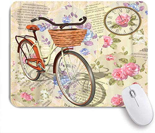 Dekoratives Gaming-Mauspad,Geburtstag Vintage Rosen Vögel und Fahrrad Fahrrad Retro Transport,Bürocomputer-Mausmatte mit rutschfester Gummibasis