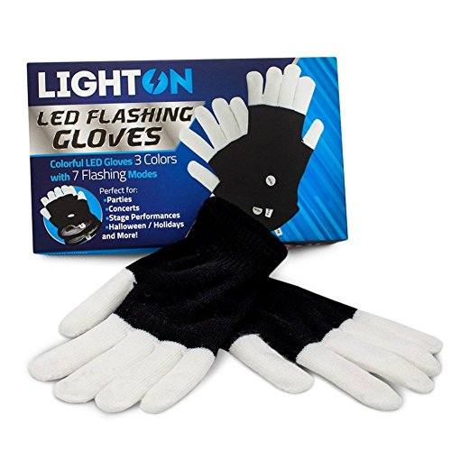 BEST Rave Gloves - Replaceable Batteries Light Show LED Gloves - Durable Finger light Gloves - White and Black Lighting Gloves with 7 Flashing Modes Perfect for Raves Parties Halloween-1pk
