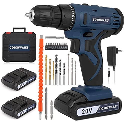 """COMOWARE 20V Cordless Drill, Electric Power Drill Set with 2 Batteries & Charger, 3/8"""" Keyless Chuck, 2 Variable Speed, 350 In-lb Torqu, 18 Position and 22pcs Drill/Driver Bits"""
