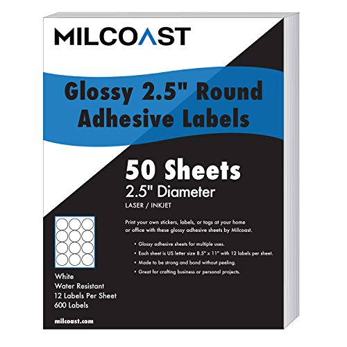 "Milcoast Glossy Adhesive 2.5"" Round Circle Shaped Labels - for Laser/Inkjet Printers - 600 Labels (50 Sheets)"