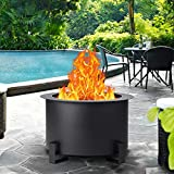GIODIR Smokeless Fire Pit Outdoor Wood Burning, 21.5 Inch Steel Double Flame Fire Pit Large Portable Stove Bonfire for Outside, Backyard, Camping, Picnic, Garden w/ 1 Pokers and Cover, Black