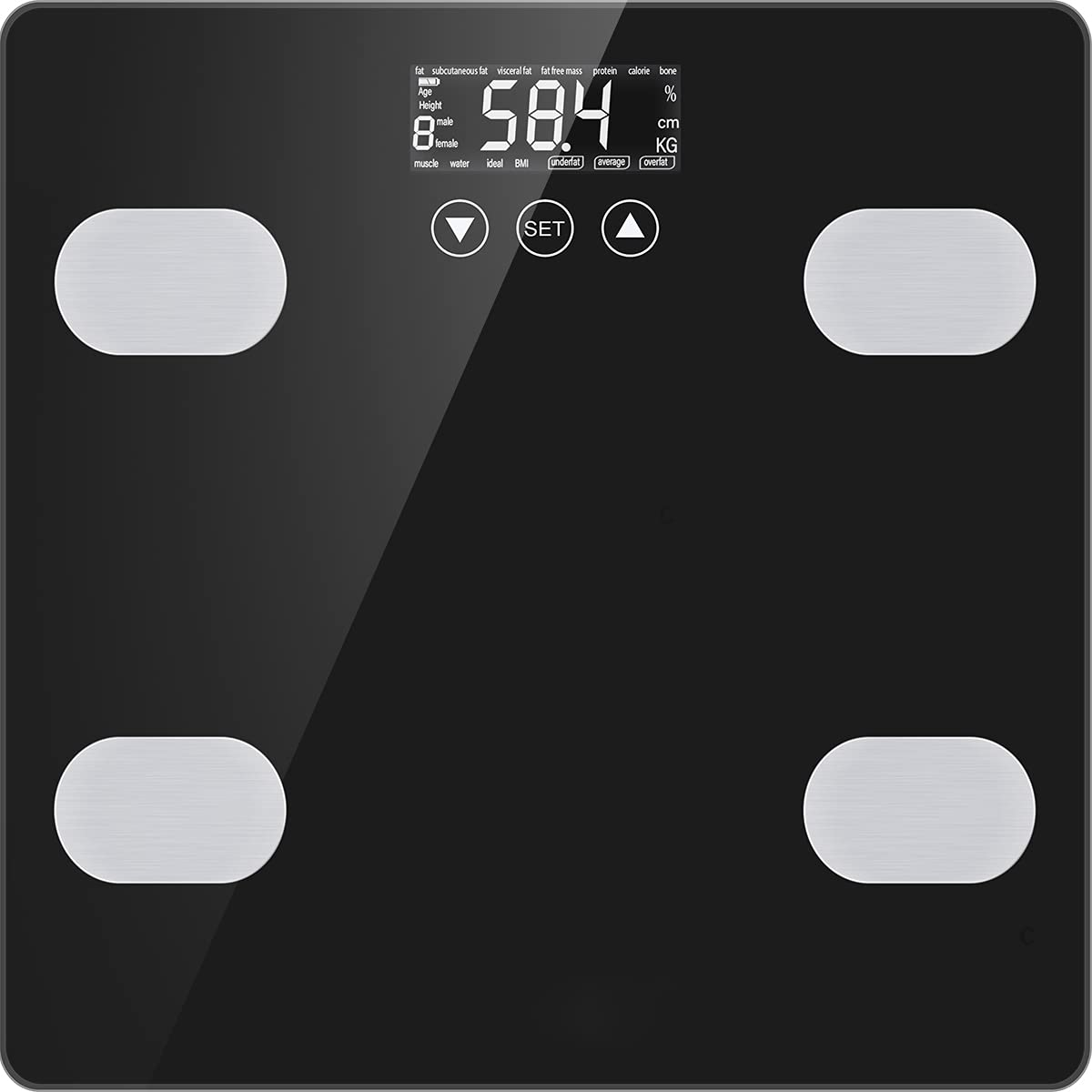 Bascula de Baño Bascula Grasa Corporal y Muscular Bascula Digital de Casa para Peso Óseo IMC Masa Muscular Agua Calorías Proteínas