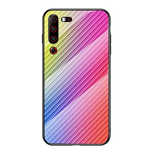 Capa para Lenovo Z6 Pro, YINCANG [cor Hyun] estampa de fibra de carbono + vidro temperado transparente + capa traseira protetora de TPU macio para Lenovo Z6 Pro 6,4 polegadas colorida