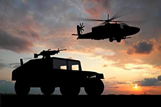 Military Armored Vehicle Helicopter Over Sunset Photo Photograph Cool Wall Decor Art Print Poster 36x24