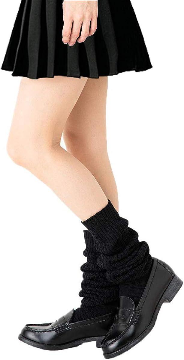 ルーズソックス Loose Casual Socks for Girls Women Japanese Student Loose Stockings Super Long 70.9-15.7 Inches Black