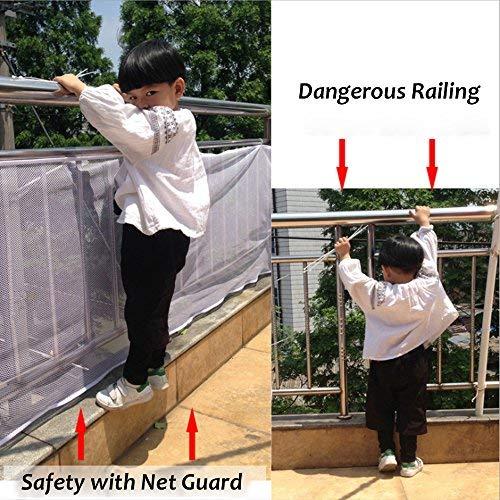 ParaCity Sicherheitsnetz für Treppengeländer, abnehmbar, langlebig, leicht zu installieren, Balkonschutz für Haustier, Kleinkind, Spielzeug, verstärktes Banister-Netz, 3 m