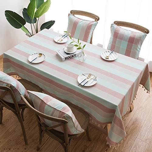 Couture Tassel Nappe En Coton Tissu En Lin Étanche À La Poussière Lourd Rectangulaire Couverture De Table pour la Cuisine À Manger Décoration De Table (taille : 140 * 180cm)