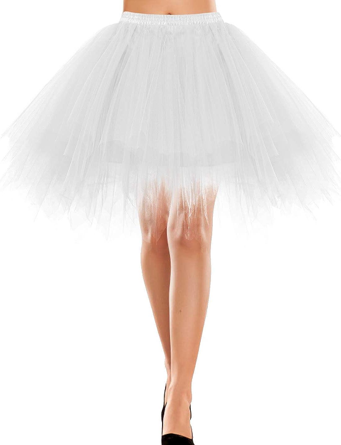Bbonlinedress Women's Mini Tulle Skirt 1950s Vintage Adult Ballet Tutu Skater Skirt for Cosplay Party