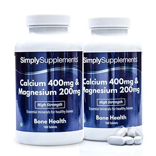 Calcio 400mg y Magnesio 200mg - ¡Bote para 6 meses! - Apto para veganos - 360 Comprimidos - SimplySupplements