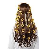 Flower Hippie Headband Floral Crown - AWAYTR Behemain Sunflowers Beads Adjust Flower Headdress Hair Accessories (Yellow)