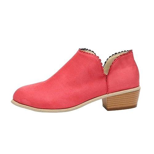 Punta Tacones Elegante Redonda Mujer Invierno Zapatos de Bloque Moda Botines para Dama Casual Botas Tobillo pOtwqwa