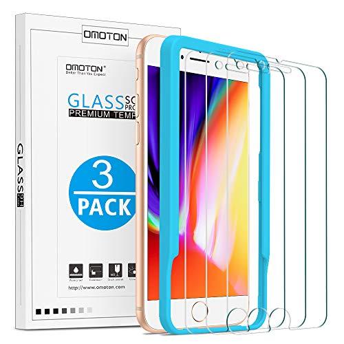 OMOTON [3 Stück] Schutzfolie kompatibel für iPhone 7/ iPhone 8, 9H Härte, Anti-Kratzen, Anti-Öl, Anti-Bläschen