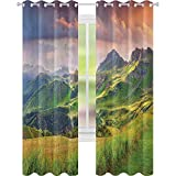 Cortina aislada de verano, paisaje de los Alpes italianos al atardecer prado serenidad en la naturaleza, 52 x 95 cm de ancho para sala de estar o dormitorio, verde blanco