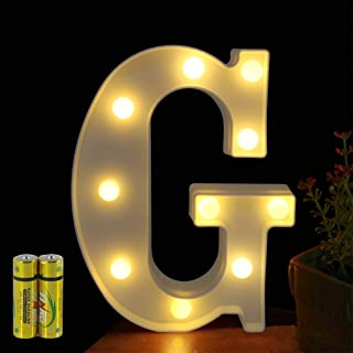 FUNRUI LED Marquee Letter Lights Sign 26 Alphabet Light Up Marquee Letters Lamp Sign for Bedroom Night Light Wedding Birthday Party Festival Valentine Battery Powered Home Bar Decoration (G)