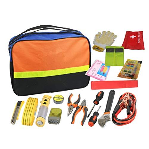 YANG WU Kit de Emergencia para automóvil, Asistencia en Carretera Multifuncional de Viaje, Kit de avería para automóvil, con Cable de Puente, Cuerda de Remolque, Linterna, Martillo de Seguridad, etc.