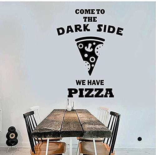 Pegatinas De Pared Calcomanías Artísticas Citas Interesantes Para Pizzería Ir Al Lado Oscuro Decoración Del Hogar Cocina Ventana 43X57Cm
