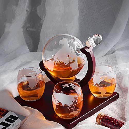 KKTECT Set decanter per whisky con globo inciso 1000ml con 4 tazze in vetro e supporto classico in legno per la decorazione della casa di vino/brandy/bourbon/scotch