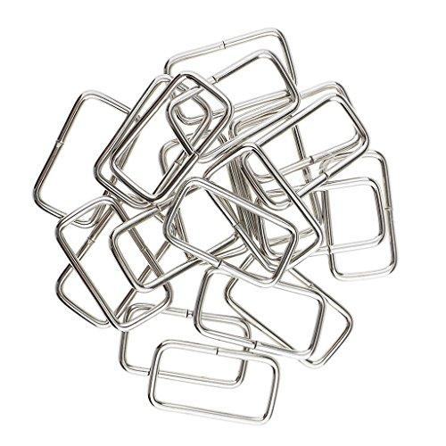 MagiDeal 20 Stück Metall Rechteck Ring Keine geschweißt für D Dee Ring Gurtband Gürtel Band Schnallen - Silber, 32x16x2.8mm