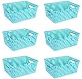 Plastic Small Storage Baskets Set of 6, Blue Woven Baskets Organizer, Tall Basket Bins for Home, Bathroom, Kitchen, Office