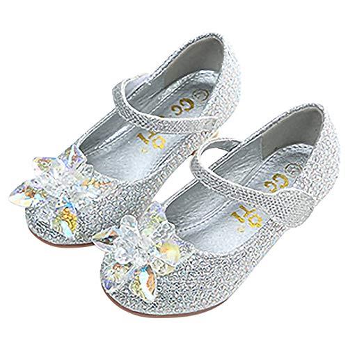 Monissy Niña Zapatos de Vestir Flor Tango Latino Princesa Lentejuelas Antideslizante Cómodo Transpirable Sandalias Disfraz Navidad Regalo Diario Moda Verano Tamaño27-34 Bailarinas Plateado