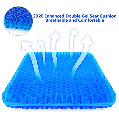 SUPTEMPO Gel Seat Cushion, Thick Big Gel Seat Cushion,Newest Modified Double Gel Honeycomb Design Seat Cushion, for Pressure Relief Back Tailbone Pain - Home Office Chair Car Travel