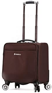 Trolley Case Travel Case, Portable Small Suitcase, Oxford Cloth, Waterproof, Wear-Resistant, Rotatable Pulley Travel Luggage Carry-Ons (Color : Brown)